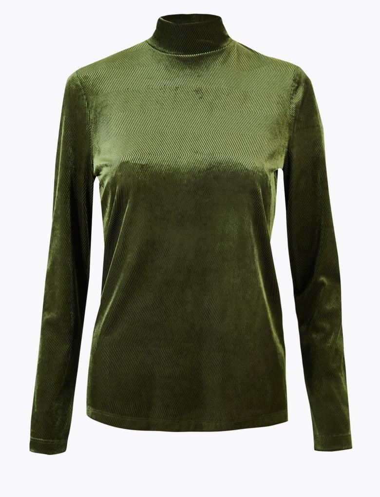 Yeşil Fitted Uzun Kollu Bluz