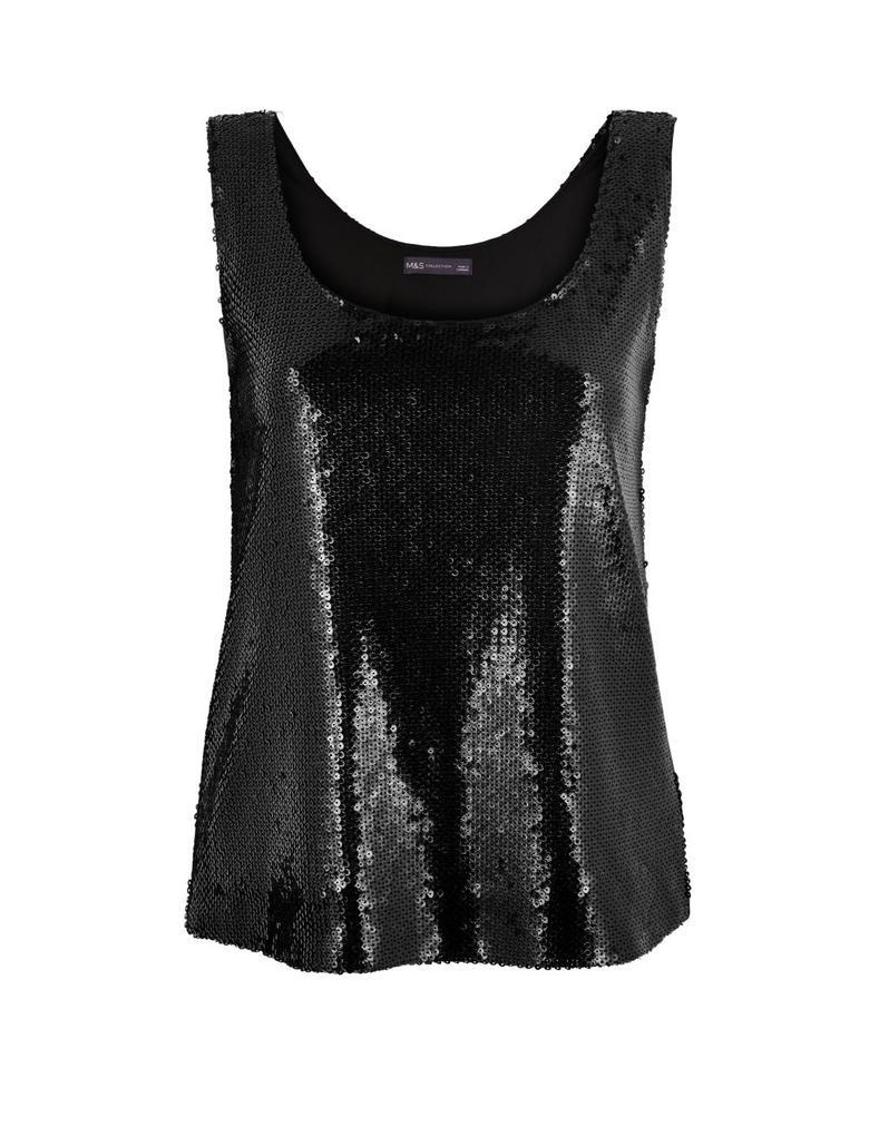 Kadın Siyah Kolsuz Pullu Bluz