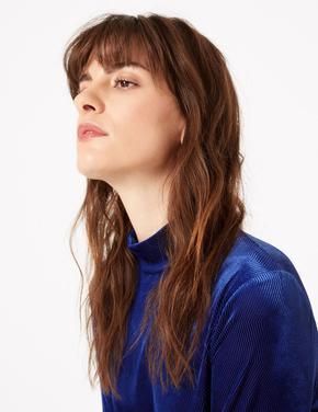 Kadın Mavi Fitted Uzun Kollu Bluz