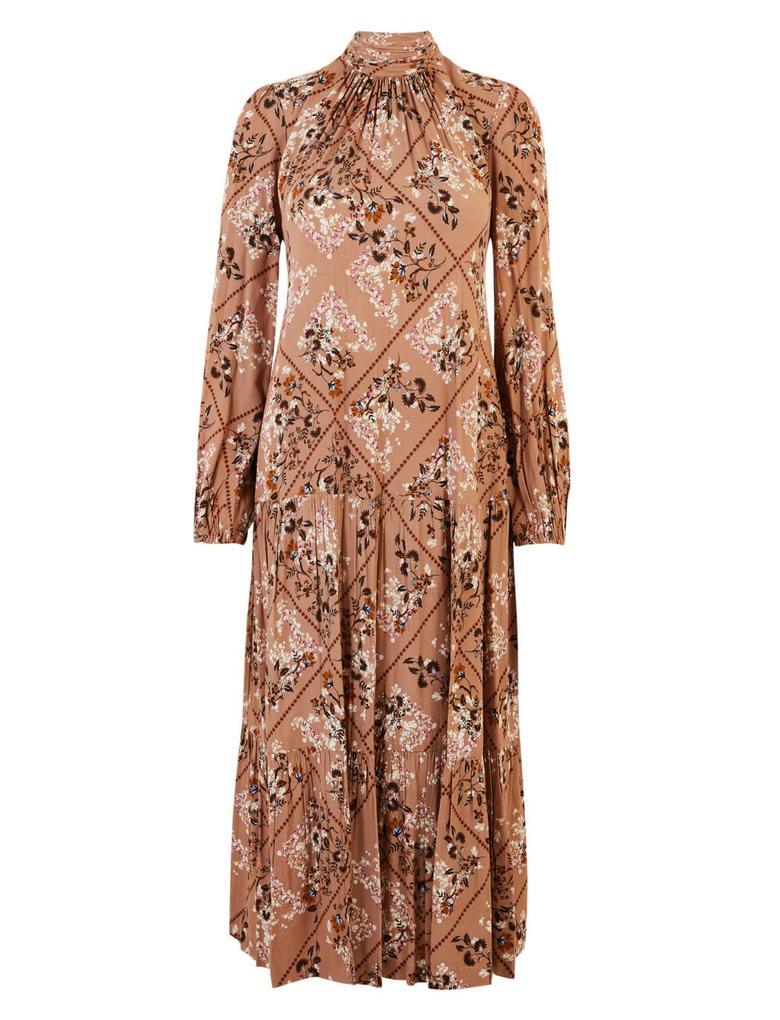 Kadın Bej Çiçek Desenli Midi Elbise