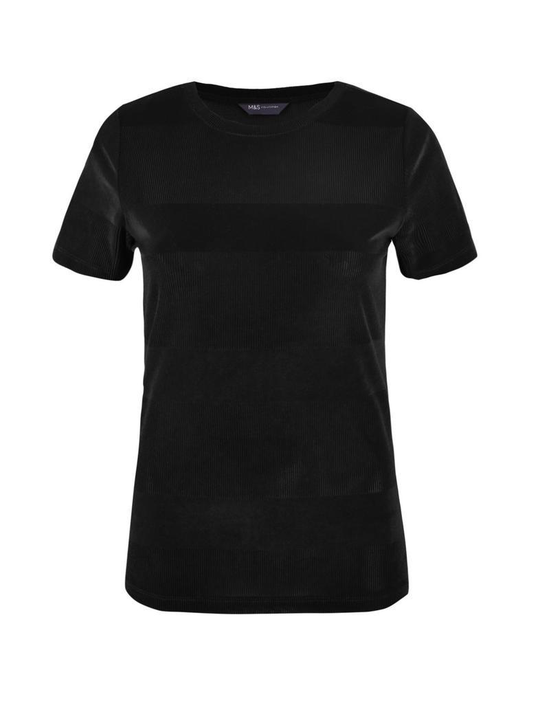 Kadın Siyah Kadife Dokulu T-Shirt