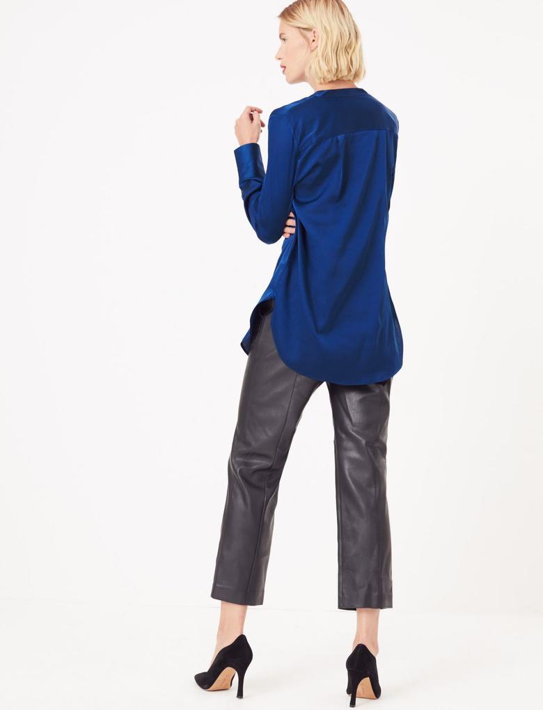 Kadın Lacivert Saten Uzun Gömlek