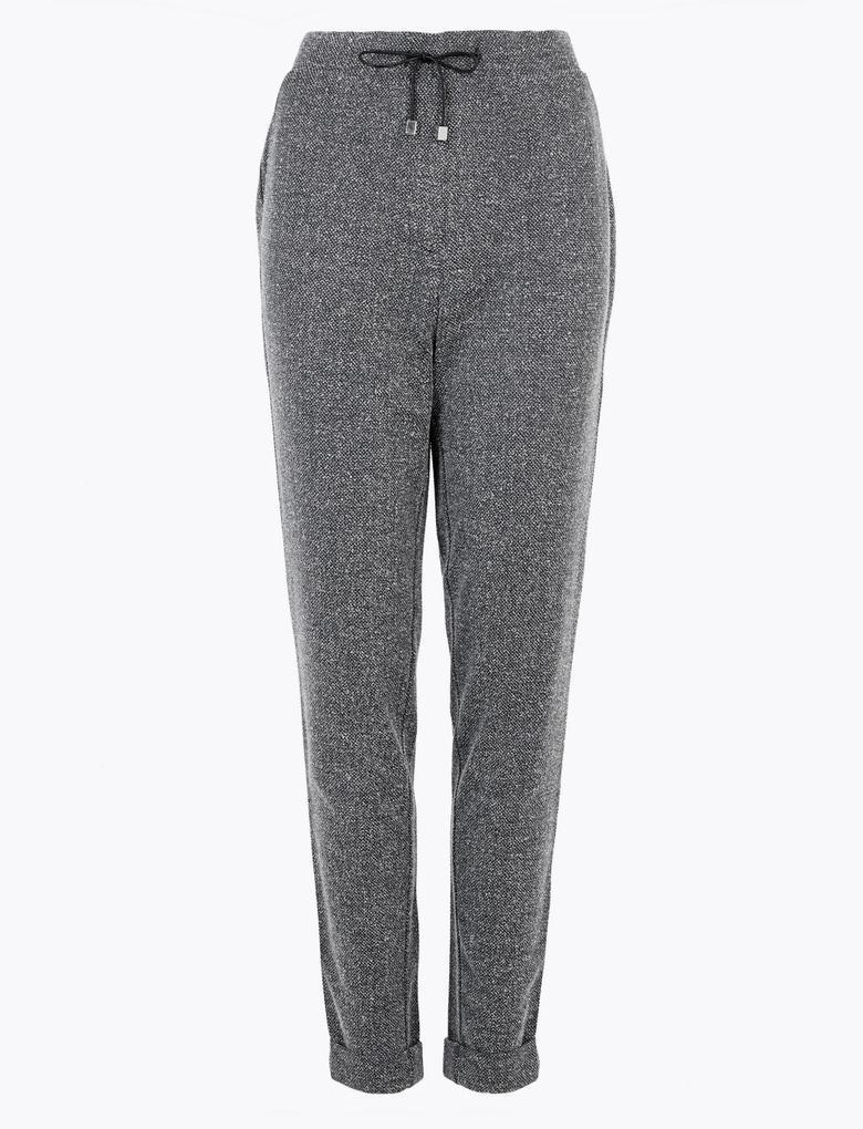 Kadın Siyah Tapered Leg Pantolon