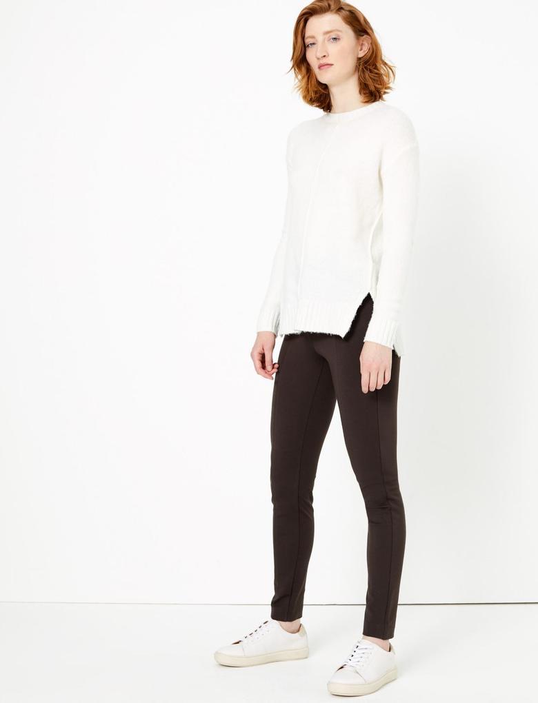 Kadın Kahverengi Pull-On Tregging Pantolon