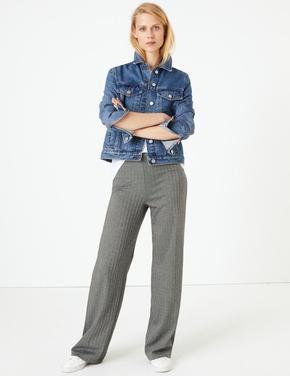 Kadın Siyah Balıksırtı Desenli Wide Leg Pantolon