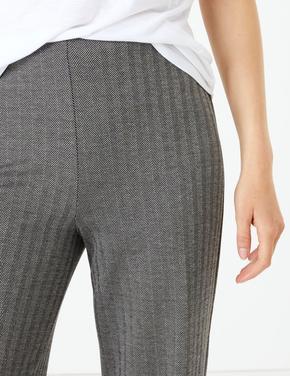 Balıksırtı Desenli Wide Leg Pantolon