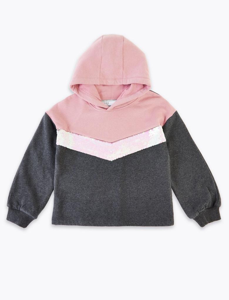 Kız Çocuk Gri Pullu Kapüşonlu Sweatshirt
