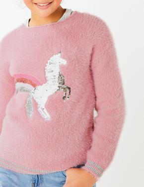 Pullu Unicorn İşlemeli Kazak