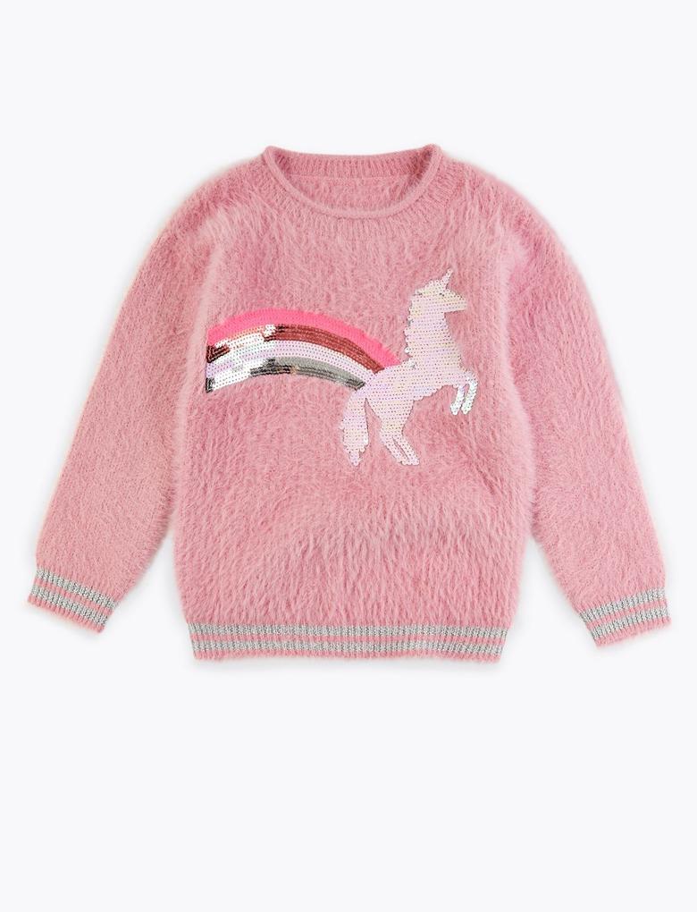 Kız Çocuk Pembe Pullu Unicorn İşlemeli Kazak