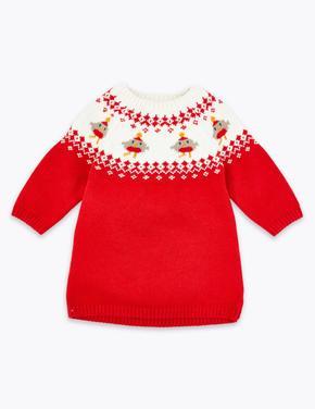 2'li Yılbaşı Temalı Triko Elbise Seti