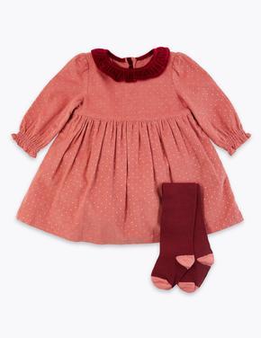 Bebek Pembe Puantiye Desenli Elbise ve Çorap Takımı
