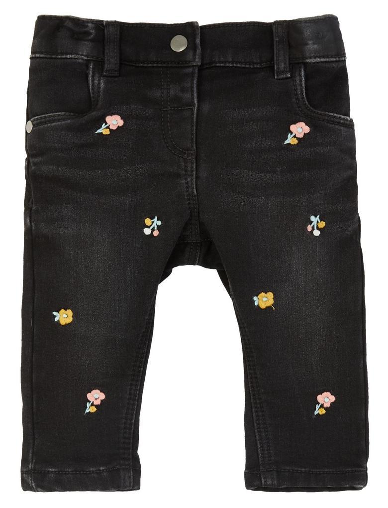 Bebek Gri Çiçek İşlemeli Jean Pantolon