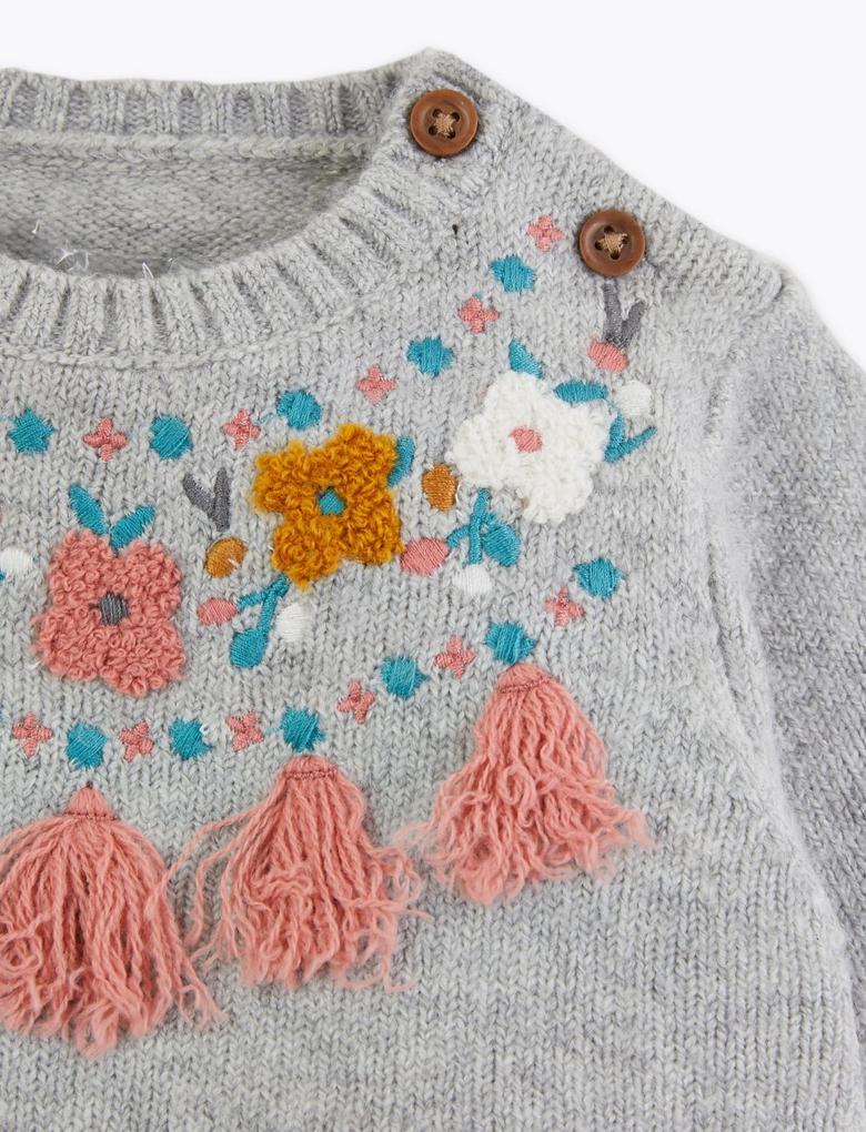 Çiçek İşlemeli Triko Elbise