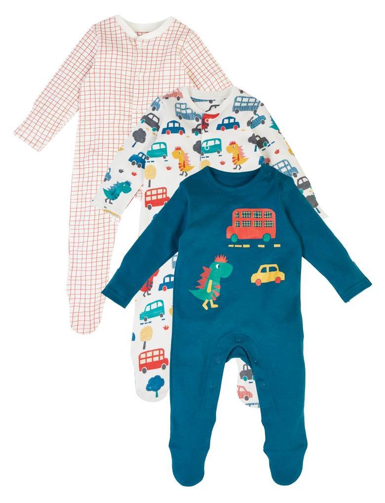 Bebek Multi Renk 3'lü Organik Pamuklu Desenli Tulum Seti