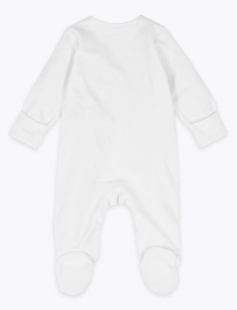 Bebek Beyaz Desenli Kadife Tulum