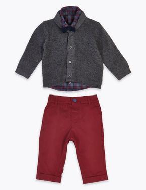 4'lü Ekose Gömlek ve Pantolon Seti