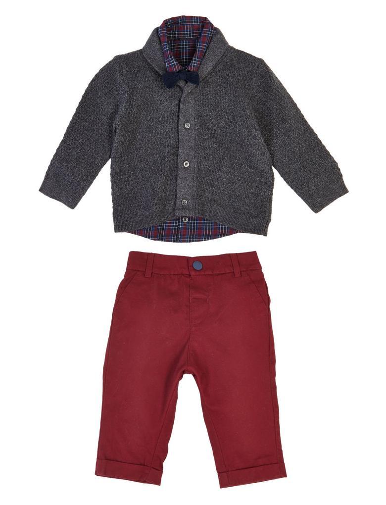 Bebek Bordo 4'lü Ekose Gömlek ve Pantolon Seti