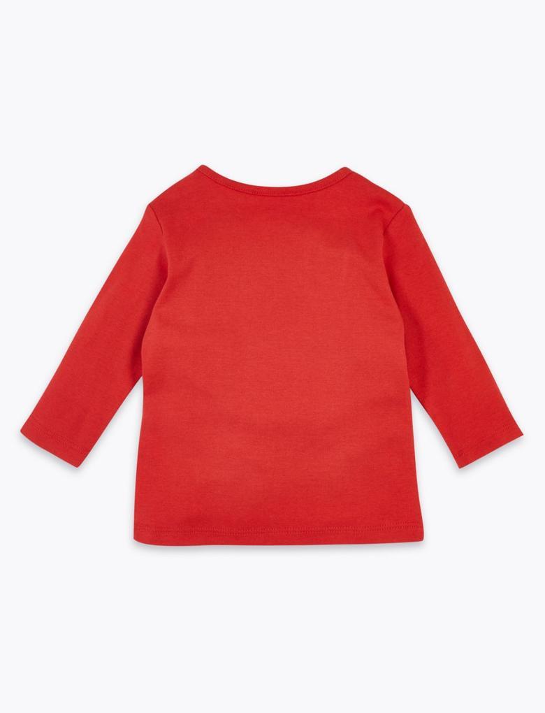 Bebek Kırmızı Yılbaşı Temalı Uzun Kollu T-Shirt