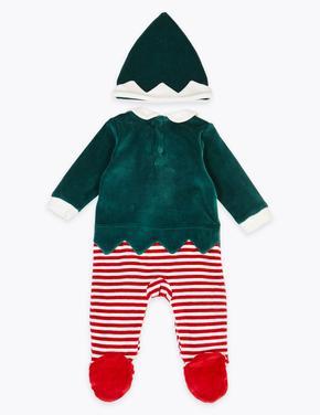 Bebek Yeşil 2 Parça Yılbaşı Temalı Tulum ve Şapka Seti
