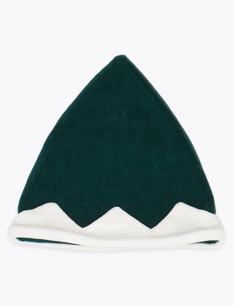Yeşil 2 Parça Yılbaşı Temalı Tulum ve Şapka Seti