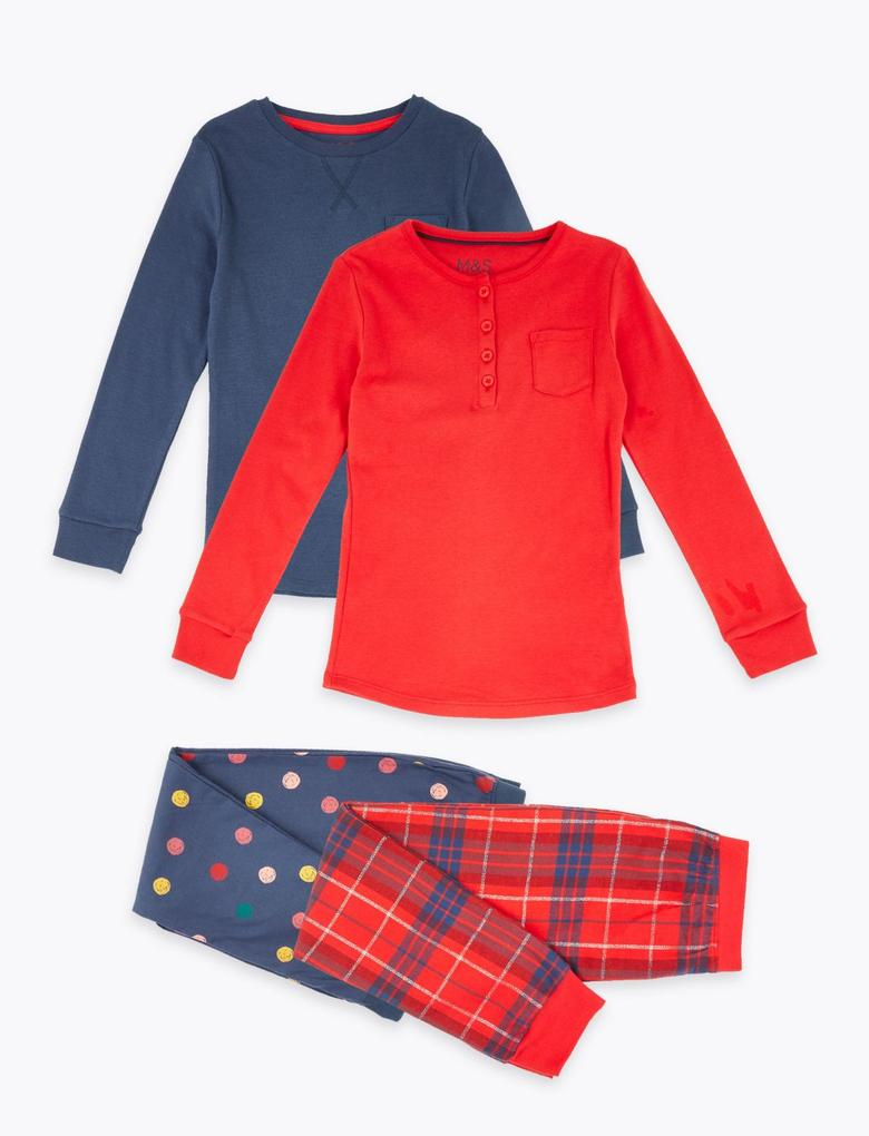 Kırmızı 2'li Desenli Pijama Seti