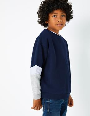Lacivert Renk Bloklu Sweatshirt