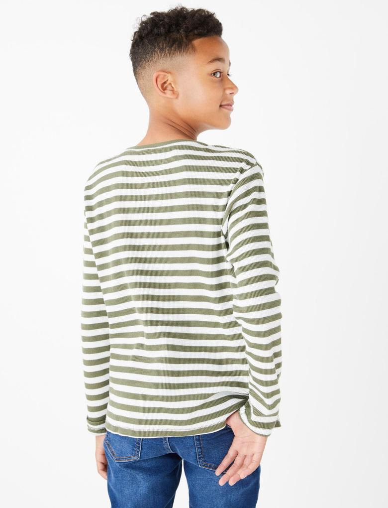 Erkek Çocuk Yeşil Çizgili Uzun Kollu T-Shirt