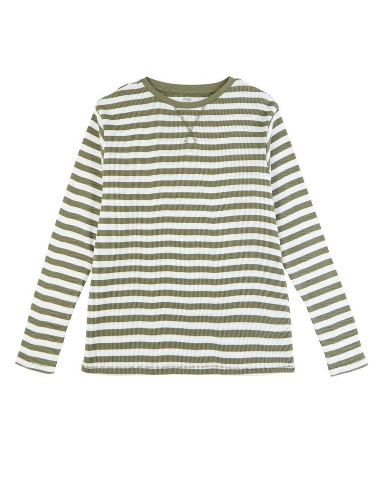 Yeşil Çizgili Uzun Kollu T-Shirt