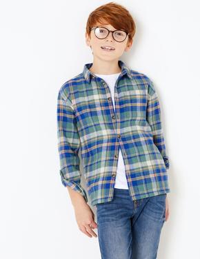 Erkek Çocuk Yeşil Ekose Gömlek