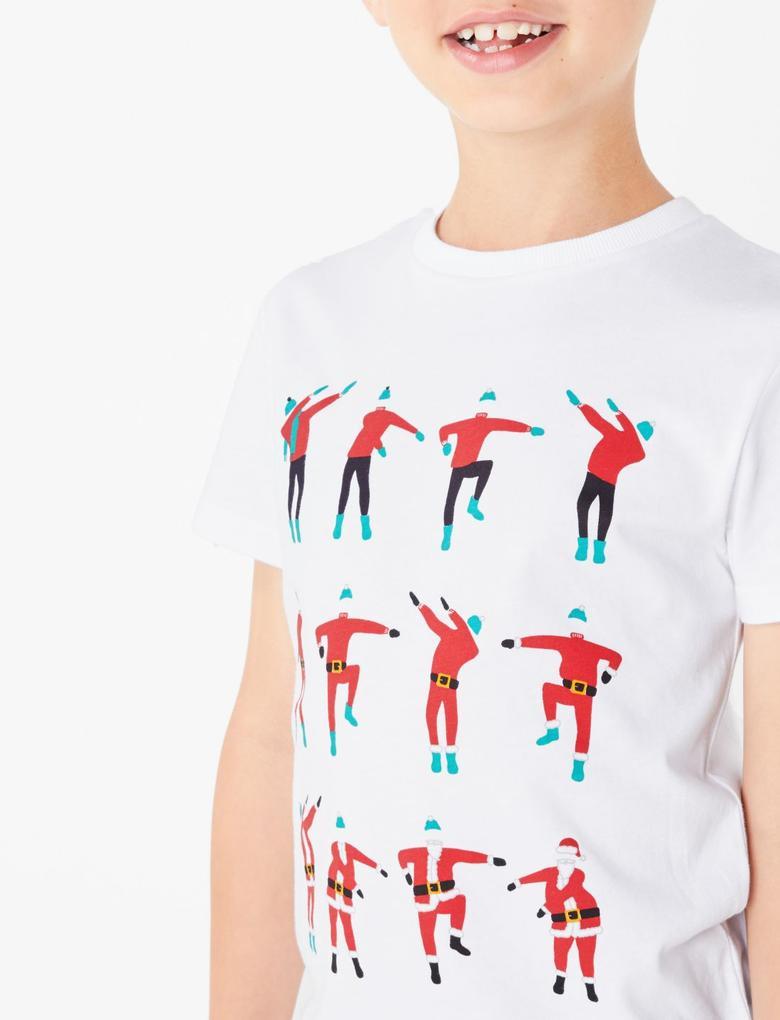 Beyaz Desenli Kısa Kollu T-Shirt