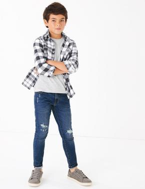 Erkek Çocuk Gri Ekose Gömlek ve T-Shirt Seti