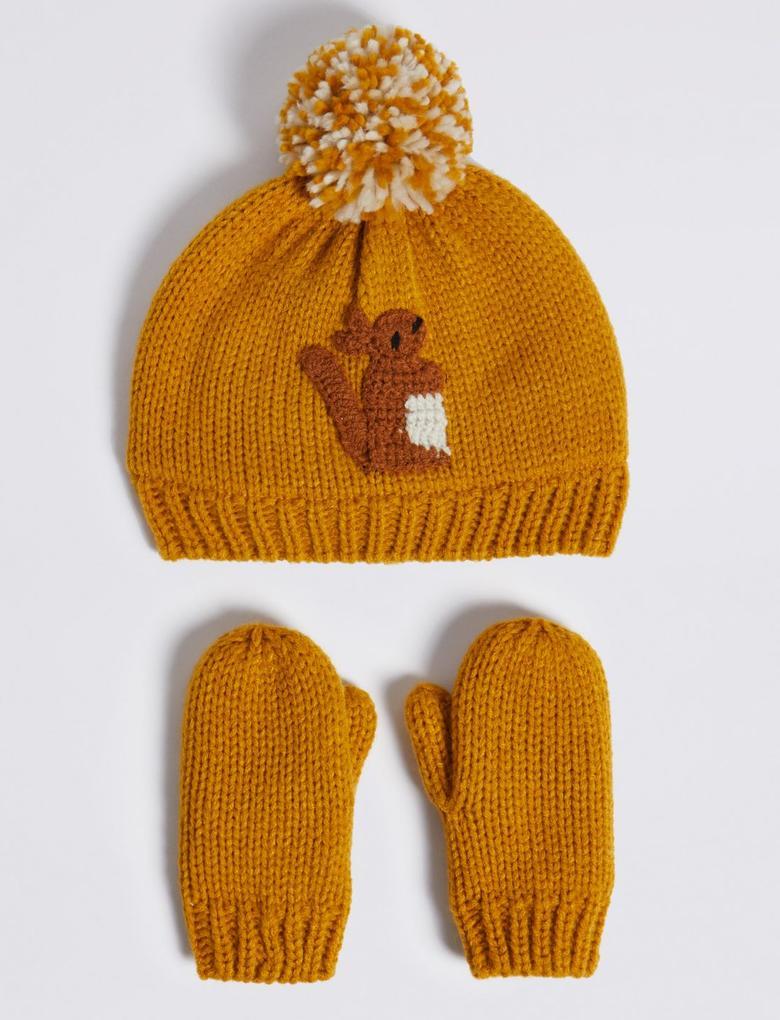 Kız Çocuk Kahverengi Sincap İşlemeli Şapka ve Eldiven Takımı