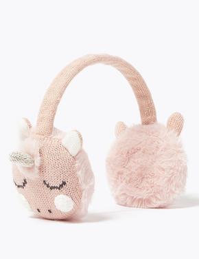 Kız Çocuk Bej Unicorn İşlemeli Kulaklık