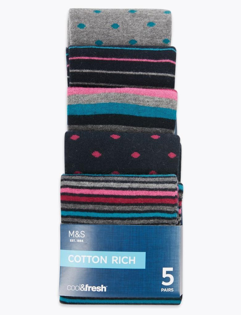 Erkek Pembe 5'li Cool & Fresh™ Desenli Çorap Seti