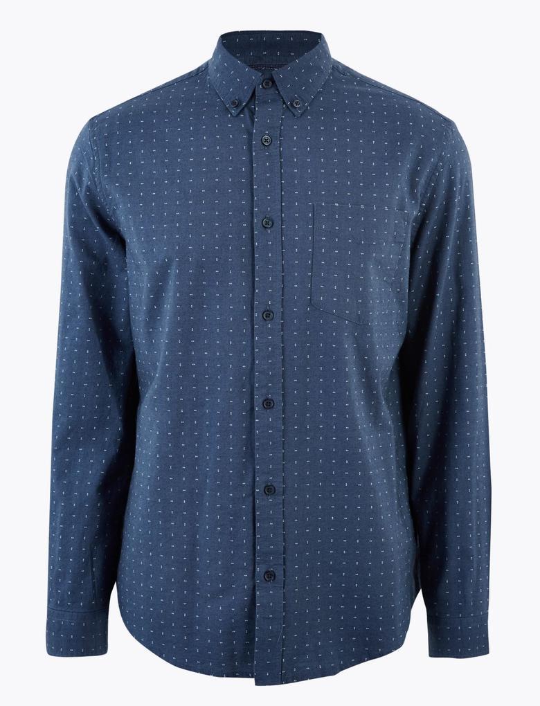 Erkek Mavi Saf Pamuklu Regular Fit Oxford Gömlek