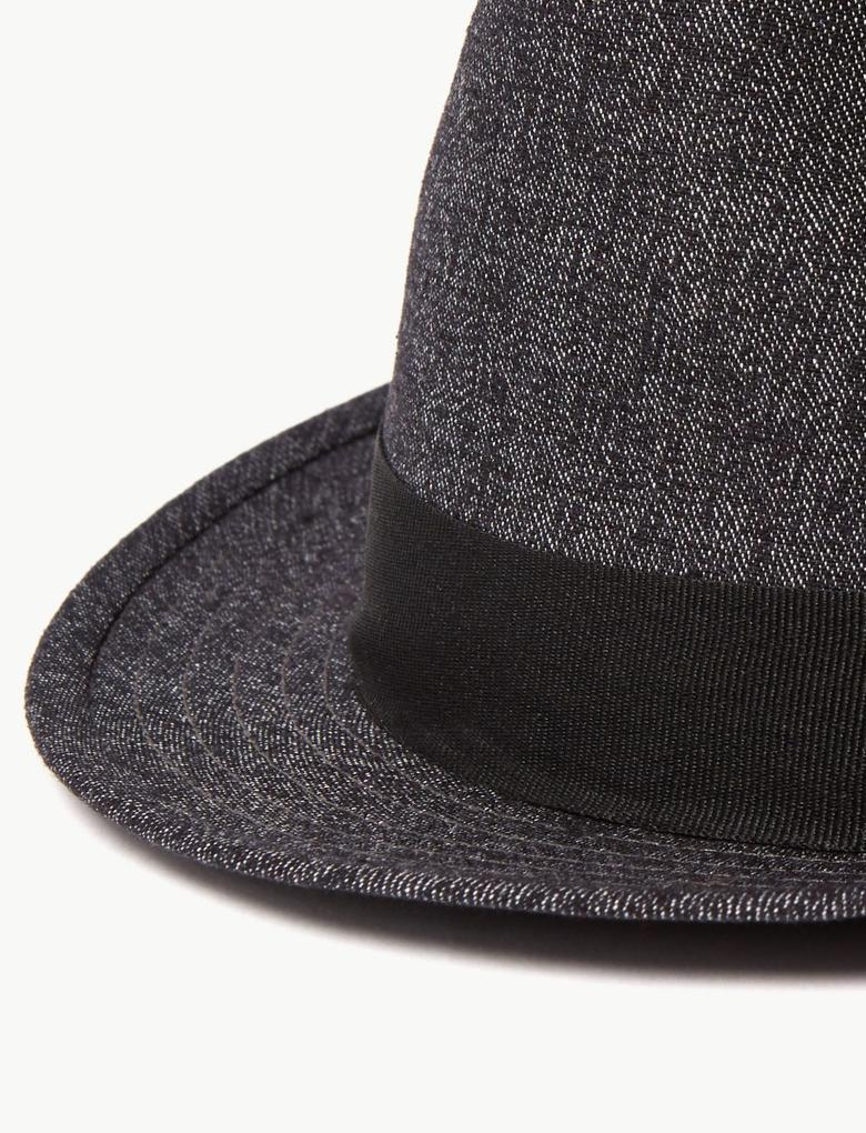 Erkek Siyah Dokulu Fötr Şapka