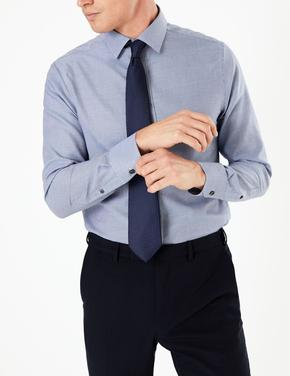 Lacivert Desenli Slim Fit Gömlek
