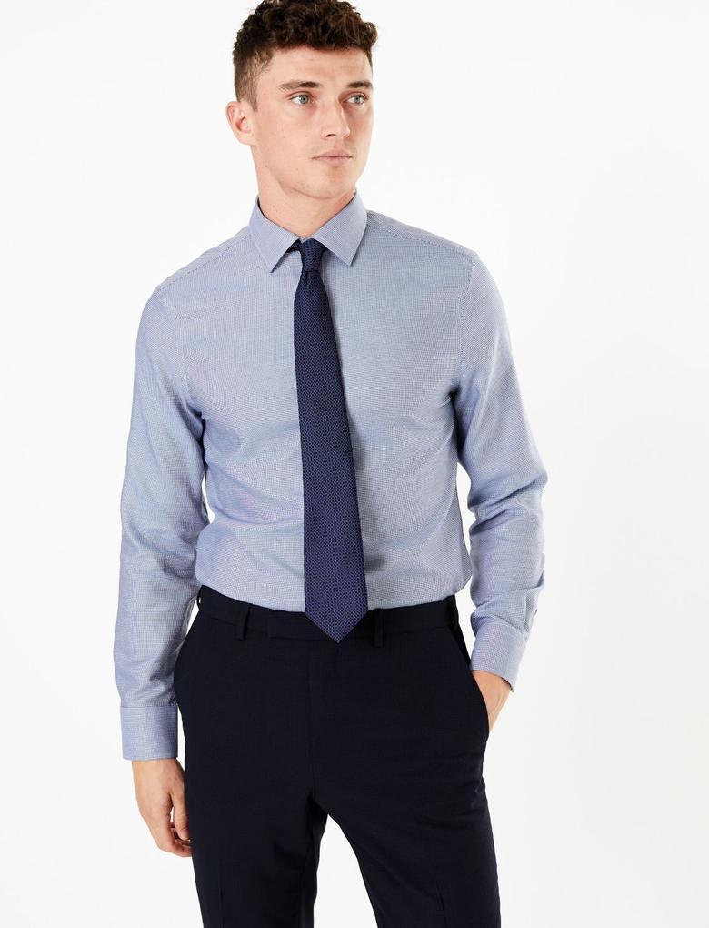 Erkek Lacivert Desenli Slim Fit Gömlek