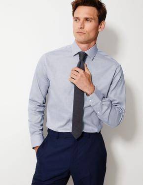 Gri Kolay Ütülenir Tailored Fit Gömlek