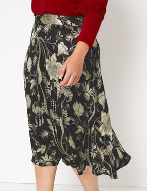 Kadın Siyah Çiçek Desenli Fit & Flare Midi Etek