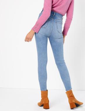 Kadın Mavi Yüksek Belli Ankle Jean Pantolon