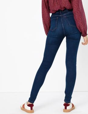 Lacivert Yüksek Belli Ankle Jean Pantolon