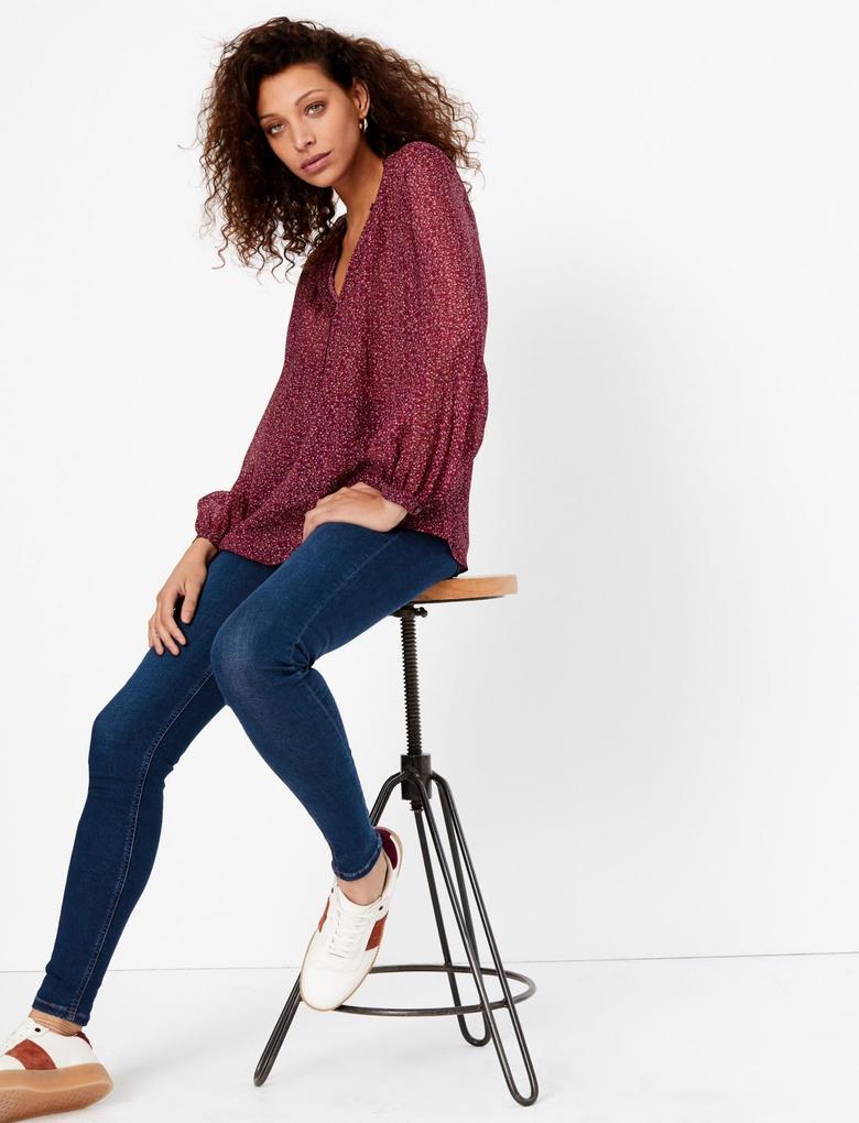 Kadın Lacivert Yüksek Belli Ankle Jean Pantolon