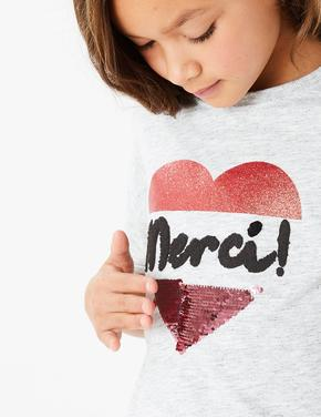 Kız Çocuk Gri Pullu T-Shirt