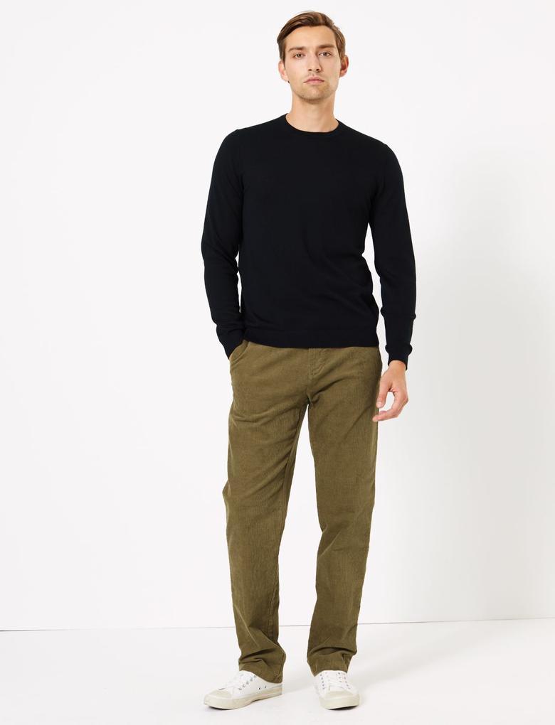 Kadife Dokulu Regular Fit Pantolon