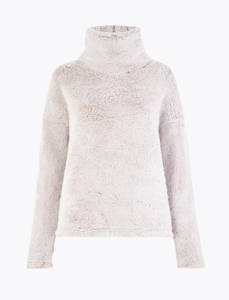 Kadın Bej Polar Pijama Üstü
