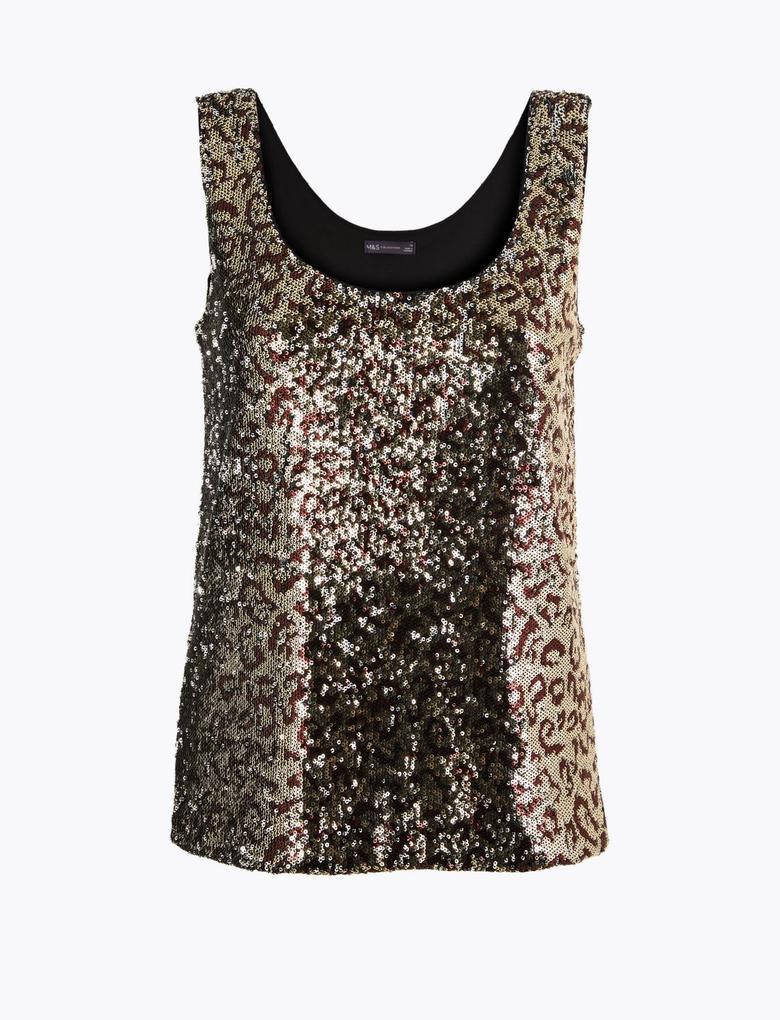 Kadın Kahverengi Desenli Payetli Bluz