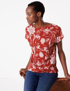 Kadın Kırmızı Çiçek Desenli Kısa Kollu Bluz