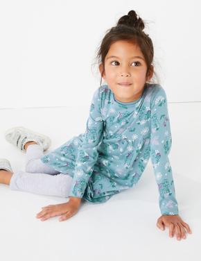 Kız Çocuk Mavi Disney Frozen™ Desenli Elbise