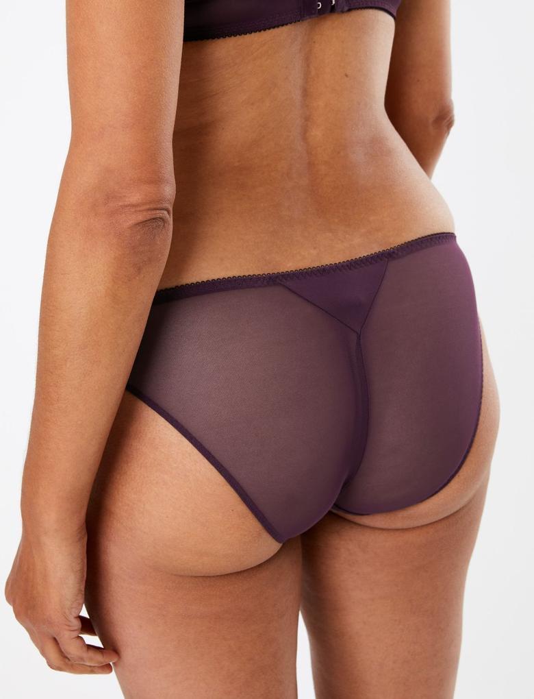 Kadın Mor 2'li İşlemeli Bikini Külot Seti